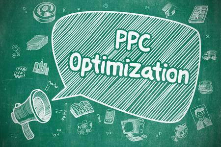 マンガの吹き出しに PPC の最適化。拡声器を金切り声の漫画イラスト。広告の概念。ビジネス コンセプトです。フレーズ PPC 最適化とメガホン。青い黒板の漫画イラスト。