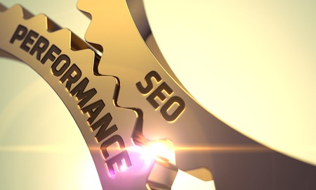 SEO Performance - Industrial Illustration with Glow Effect and Lens Flare. 3D.