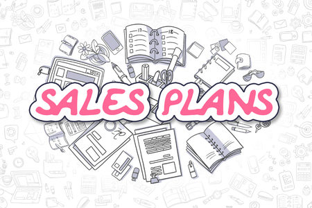 realization: Sales Plans - Hand Drawn Business Illustration with Business Doodles. Magenta Text - Sales Plans - Doodle Business Concept.