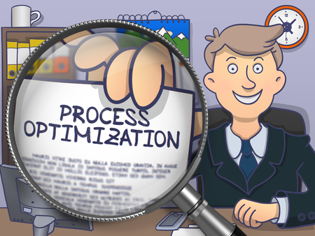 growth enhancement: Officeman in Suit Looking at Camera and Holds Out a Concept on Paper Process Optimization Concept through Magnifying Glass. Closeup View. Multicolor Doodle Illustration. Stock Photo
