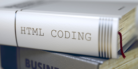 meta data: Html Coding - Business Book Title. Book Title on the Spine - Html Coding. Html Coding - Leather-bound Book in the Stack. Closeup. Blurred Image with Selective focus. 3D.