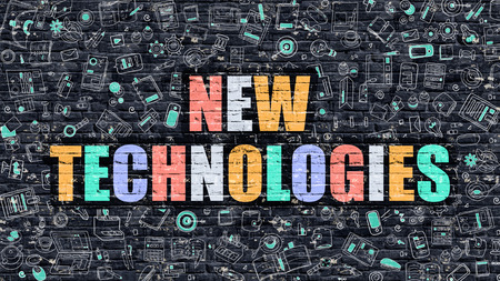 new technologies: New Technologies Concept. Modern Illustration. Multicolor New Technologies Drawn on Dark Brick Wall. Doodle Icons. Doodle Style of  New Technologies Concept. New Technologies on Wall. Stock Photo