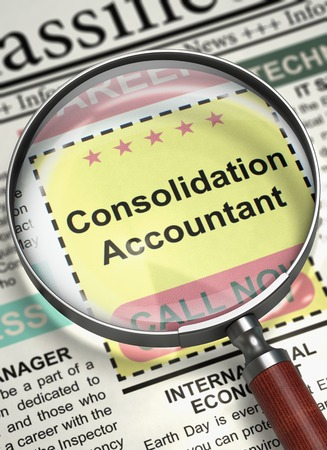 payable: Consolidation Accountant - CloseUp View Of A Classifieds Through Loupe. Column in the Newspaper with the Jobs of Consolidation Accountant. Job Search Concept. Blurred Image. 3D Render.