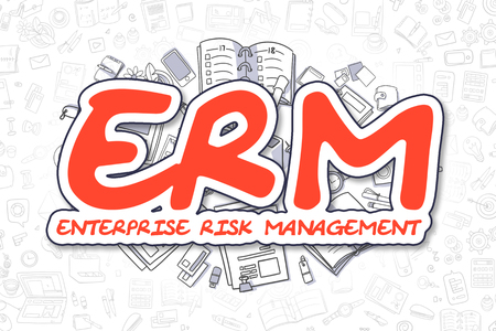 erm: Red Text - ERM - Enterprise Risk Management. Business Concept with Doodle Icons. ERM - Enterprise Risk Management - Hand Drawn Illustration for Web Banners and Printed Materials.