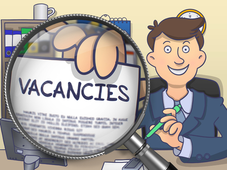 vacancies: Businessman Showing Text on Paper Vacancies. Closeup View through Magnifying Glass. Multicolor Modern Line Illustration in Doodle Style.