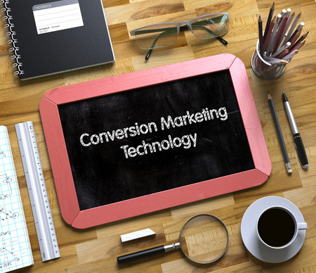 cpc: Conversion Marketing Technology on Small Chalkboard. Conversion Marketing Technology Handwritten on Small Chalkboard. 3d Rendering.