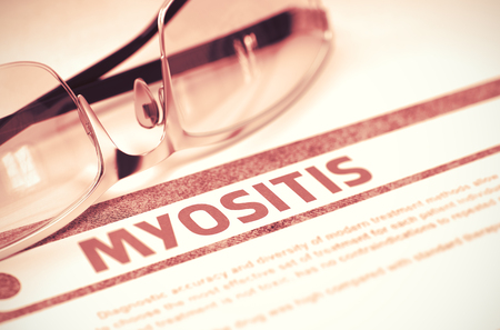 myopathy: Diagnosis - Myositis. Medical Concept on Red Background with Blurred Text and Eyeglasses. Selective Focus. 3D Rendering. Stock Photo