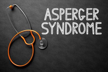 asperger syndrome: Black Chalkboard with Asperger Syndrome - Medical Concept. Medical Concept: Asperger Syndrome Handwritten on Black Chalkboard. Top View of Orange Stethoscope on Chalkboard. 3D Rendering.