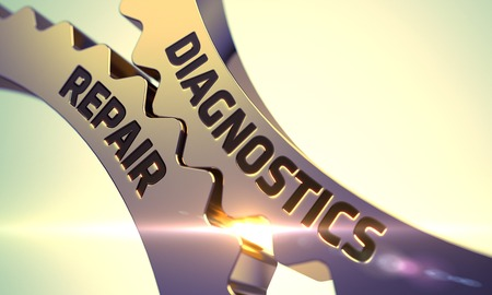 diagnostics: Diagnostics and Repair - Illustration with Glowing Light Effect. Diagnostics and Repair on the Golden Metallic Gears. Diagnostics and Repair on Mechanism of Golden Metallic Gears. 3D Render. Stock Photo