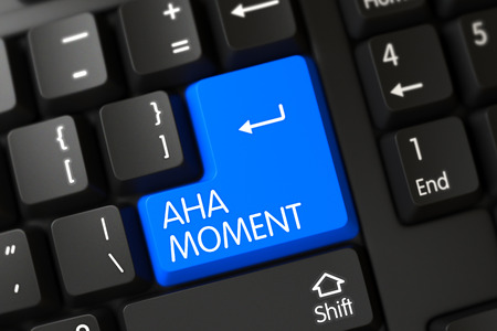 aha: Aha Moment Concept: Modern Laptop Keyboard with Selected Focus on Blue Enter Key. 3D Render.