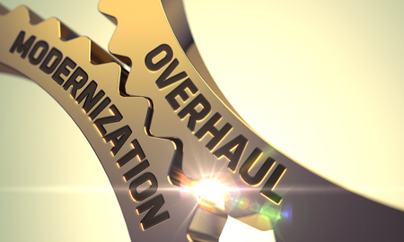 overhaul: Overhaul Modernization on the Mechanism of Golden Metallic Gears with Lens Flare. 3D.