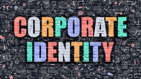 Corporate Identity. Multicolor Inscription on Dark Brick Wall with Doodle Icons. Corporate Identity Concept in Modern Style. Doodle Design Icons. Corporate Identity on Dark Brickwall Background.