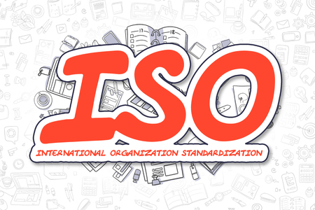 standardization: Business Illustration of ISO - International Organization Standardization. Doodle Red Word Hand Drawn Cartoon Design Elements. ISO - International Organization Standardization Concept. Stock Photo