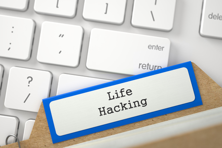 mnemonic: Life Hacking written on Blue Index Card on Background of White Modern Computer Keypad. Close Up View. Selective Focus. 3D Rendering.