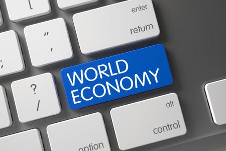 relaciones laborales: Economía Mundial Concepto: Teclado moderno con la economía mundial, el enfoque seleccionado en azul tecla Enter. Ilustración 3D.