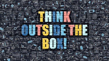 devise: Think Outside the Box. Multicolor Inscription on Dark Brick Wall with Doodle Icons. Think Outside the Box Concept in Modern Style. Think Outside the Box Business Concept. Stock Photo