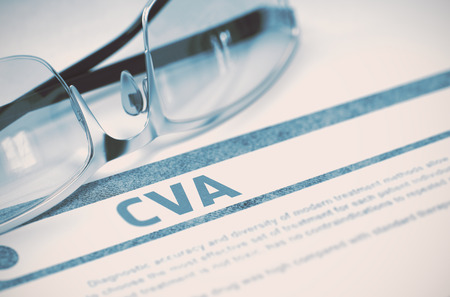 cva: CVA - Cerebrovascular Accident - Medical Concept on Blue Background with Blurred Text and Composition of Glasses. 3D Rendering.