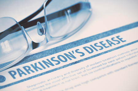 parkinson's disease: Parkinsons Disease - Printed Diagnosis with Blurred Text on Blue Background with Eyeglasses. Medical Concept. 3D Rendering.
