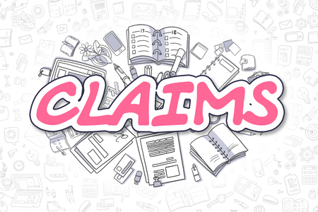 Magenta Inscription - Claims. Business Concept with Cartoon Icons. Claims - Hand Drawn Illustration for Web Banners and Printed Materials.