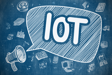 IOT - Internet Of Things on Speech Bubble. Doodle Illustration of Shouting Bullhorn. Advertising Concept. Stock Photo