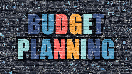 Budget Planning Concept. Modern Illustration. Multicolor Budget Planning Drawn on Dark Brick Wall. Doodle Icons. Doodle Style of  Budget Planning Concept. Budget Planning on Wall. Stock Photo