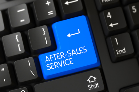 aftersales: After-Sales Service Written on a Large Blue Key of a Black Keyboard. 3D Illustration. Stock Photo