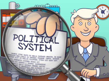 electoral system: Political System on Paper in Business Mans Hand to Illustrate a Business Concept. Closeup View through Lens. Multicolor Doodle Illustration.