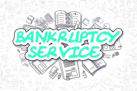 instability: Cartoon Illustration of Bankruptcy Service, Surrounded by Stationery. Business Concept for Web Banners, Printed Materials. Stock Photo