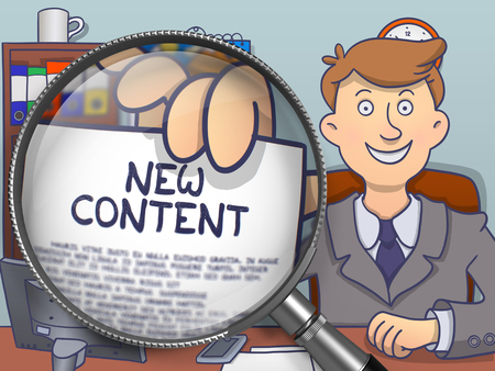 rewriting: New Content. Businessman in Office Showing through Magnifier Paper with Inscription. Colored Doodle Style Illustration.