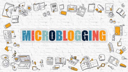 microblogging: Microblogging Concept. Modern Line Style Illustation. Multicolor Microblogging Drawn on White Brick Wall. Doodle Icons. Doodle Design Style of  Microblogging  Concept.