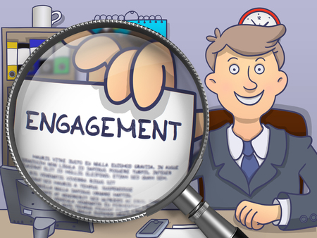 prompting: Engagement. Paper with Text in Businessmans Hand through Lens. Colored Modern Line Illustration in Doodle Style.