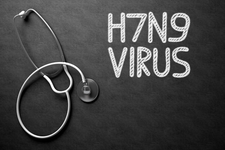 Medical Concept: H7N9 - Virus - Medical Concept on Black Chalkboard. Medical Concept: H7N9 - Virus -  Black Chalkboard with Hand Drawn Text and White Stethoscope. Top View. 3D Rendering.