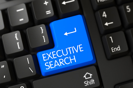 executive search: Concepts of Executive Search on Blue Enter Button on Modernized Keyboard. 3D Rendering.
