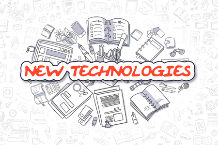 new technologies: New Technologies - Sketch Business Illustration. Red Hand Drawn Text New Technologies Surrounded by Stationery. Cartoon Design Elements.