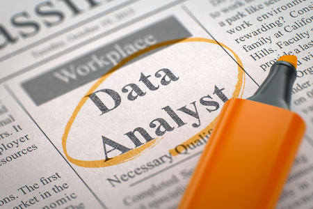 Data Analyst - Vacancy in Newspaper, Circled with a Orange Highlighter. Blurred Image. Selective focus. Hiring Concept. 3D Rendering.