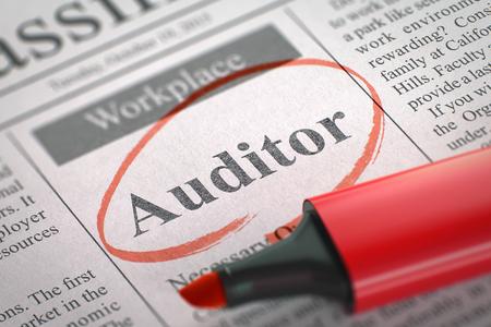 publicidad exterior: Auditor - Clasificado Anuncio de contratación en periódicos, circundado con un marcador rojo. Imagen borrosa. enfoque selectivo. Concepto de reclutamiento. 3D.