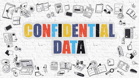 stealing data: Multicolor Concept - Confidential Data - on White Brick Wall with Doodle Icons Around. Modern Illustration with Doodle Design Style. Stock Photo
