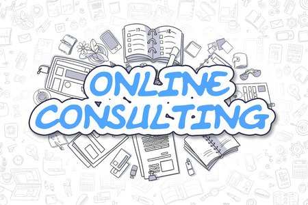 online consulting doodle illustration of blue inscription and