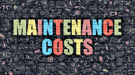 costs: Multicolor Concept - Maintenance Costs on Dark Brick Wall with Doodle Icons. Modern Illustration in Doodle Style. Maintenance Costs Business Concept. Maintenance Costs on Dark Wall.