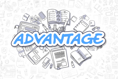 advantage: Advantage Doodle Illustration of Blue Text and Stationery Surrounded by Doodle Icons. Business Concept for Web Banners and Printed Materials.