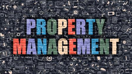 superintendence: Property Management Concept. Property Management Drawn on Dark Wall. Property Management in Multicolor. Property Management Concept. Modern Illustration in Doodle Design of Property Management.
