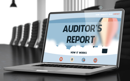 auditors: Modern Conference Hall with Laptop Showing Landing Page with Text Auditors Report. Closeup View. Toned Image. Blurred Background. 3D Illustration.