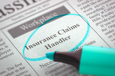 handler: A Newspaper Column in the Classifieds with the Classified Advertisement of Hiring of Insurance Claims Handler, Circled with a Azure Highlighter. Blurred Image. Selective focus. Hiring Concept. 3D.