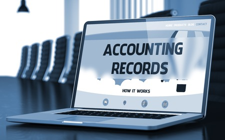 stocktaking: Accounting Records. Closeup Landing Page on Laptop Display. Modern Conference Hall Background. Blurred Image with Selective focus. 3D Rendering.