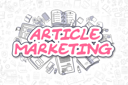 article marketing: Business Illustration of Article Marketing. Doodle Magenta Word Hand Drawn Cartoon Design Elements. Article Marketing Concept.