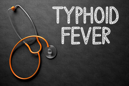 typhus: Medical Concept: Typhoid Fever -  Black Chalkboard with Hand Drawn Text and Orange Stethoscope. Top View. Medical Concept: Black Chalkboard with Typhoid Fever. 3D Rendering. Stock Photo