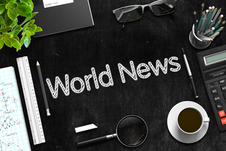 mondial: World News. Business Concept Handwritten on Black Chalkboard. Top View Composition with Chalkboard and Office Supplies. 3d Rendering. Stock Photo