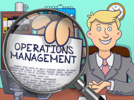 defining: Businessman Showing Paper with Text Operations Management. Closeup View through Magnifier. Multicolor Doodle Illustration.
