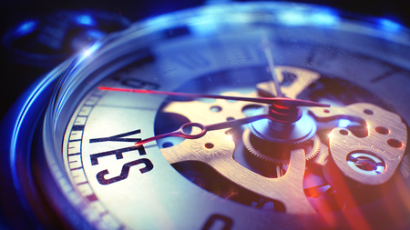 persuasive: Vintage Pocket Watch Face with Yes Wording on it. Business Concept with Lens Flare Effect. Watch Face with Yes Text, Close Up View of Watch Mechanism. Business Concept. Lens Flare Effect. 3D.