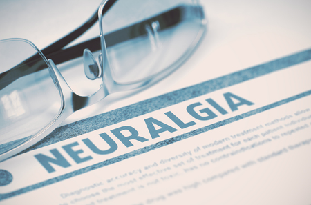 neuralgia: Neuralgia - Printed Diagnosis on Blue Background and Spectacles Lying on It. Medical Concept. Blurred Image. 3D Rendering.